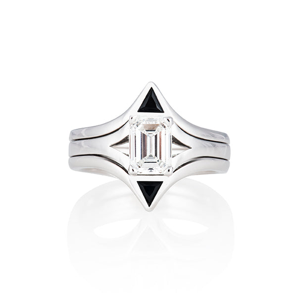 Sarah Interlock Engagement & Wedding Ring 14k White Gold 1.5carat emerald-cut Diamond, Black Onyx