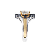 Yunico Interlock Engagement & Wedding Ring 22K White & Yellow Gold, 2 carat Princess cut Diamond, Black Diamonds