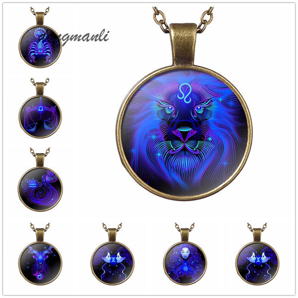 Zodiac signs 12 constellation astrology horoscope Galaxy blue necklaces.