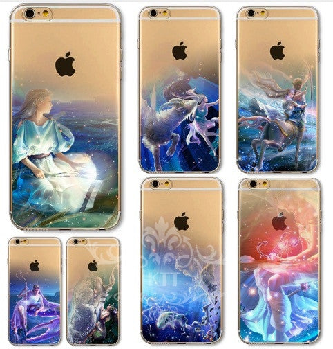 HOT NEW Transparent Soft Crystal Phone Silicon Cover Zodiac Signs Phone Case for iphone 4S 5S 5C SE 6S 7 PLUS