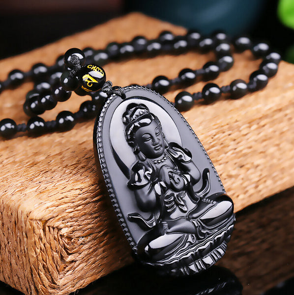 High Quality Natural Black Obsidian Carved Buddha Lucky Amulet Pendant Necklace For Women Men pendants Fashion Jewelry 48*32mm