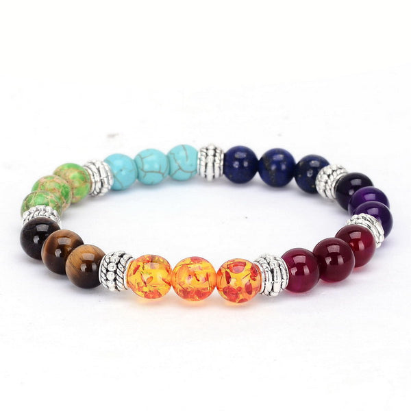 New 1pc 7 Chakra Bracelets Multicolor or Black Fashion Healing Crystals Stone Chakra Summer Jewelry