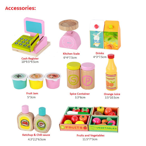 Wooden Market Stall Play Toy Set