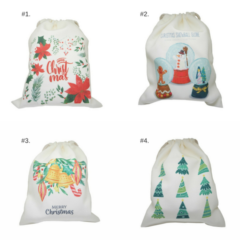 *Merry Christmas Series 1* Double Side Printed Handmade Drawstring Canvas Pouch