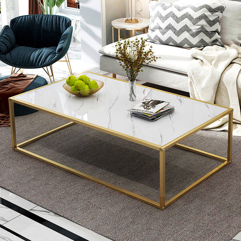 Marble Print Coffee Table With Gold Metal Base