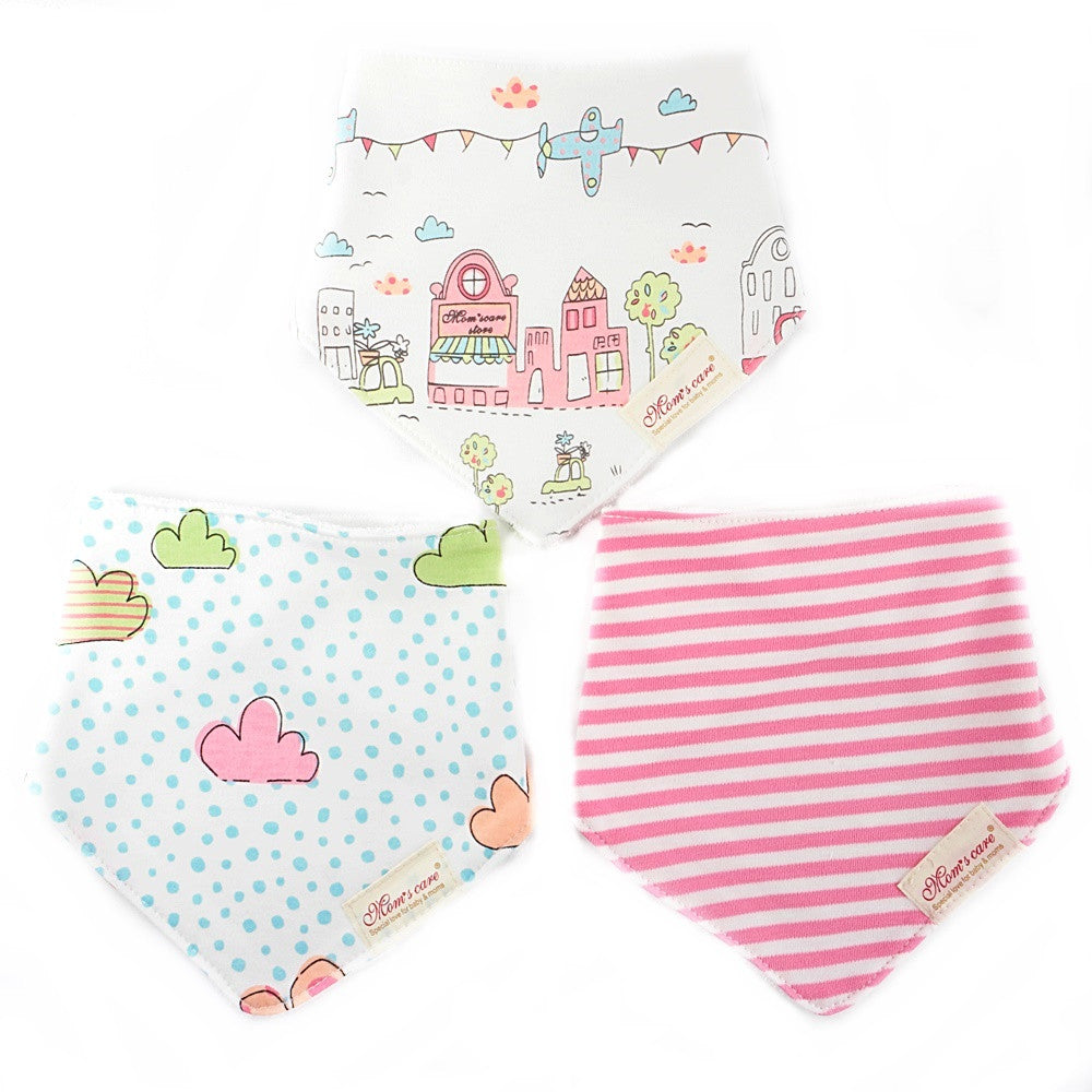 Houses and Clouds Bib Set of 3