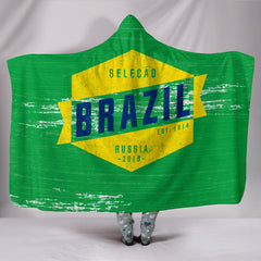 Brazil - Vintage World Cup Russia 2018 Hooded Blanket - Express Shipping