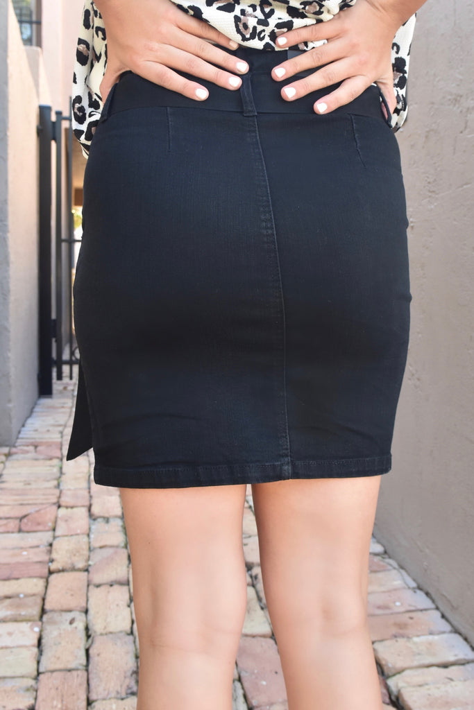 Daphne Black Button Up Belt Skirt