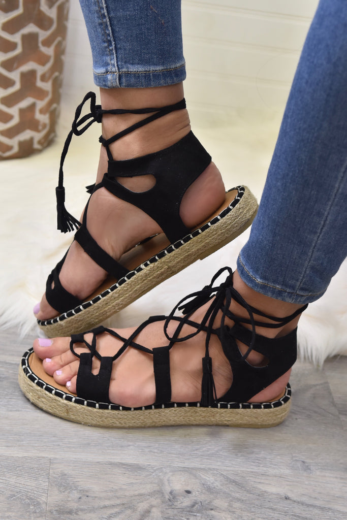 Hollie Black Lace Up Sandal