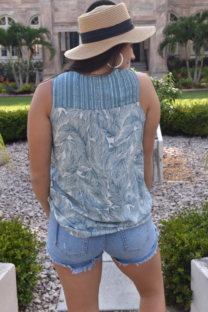 Blue Palm Surplice Wrap Tank