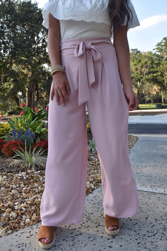 Belted Palazzo Pants- Light Pink