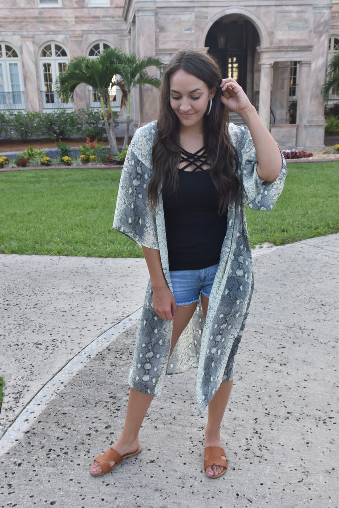 Striking in Snakeskin Long Kimono