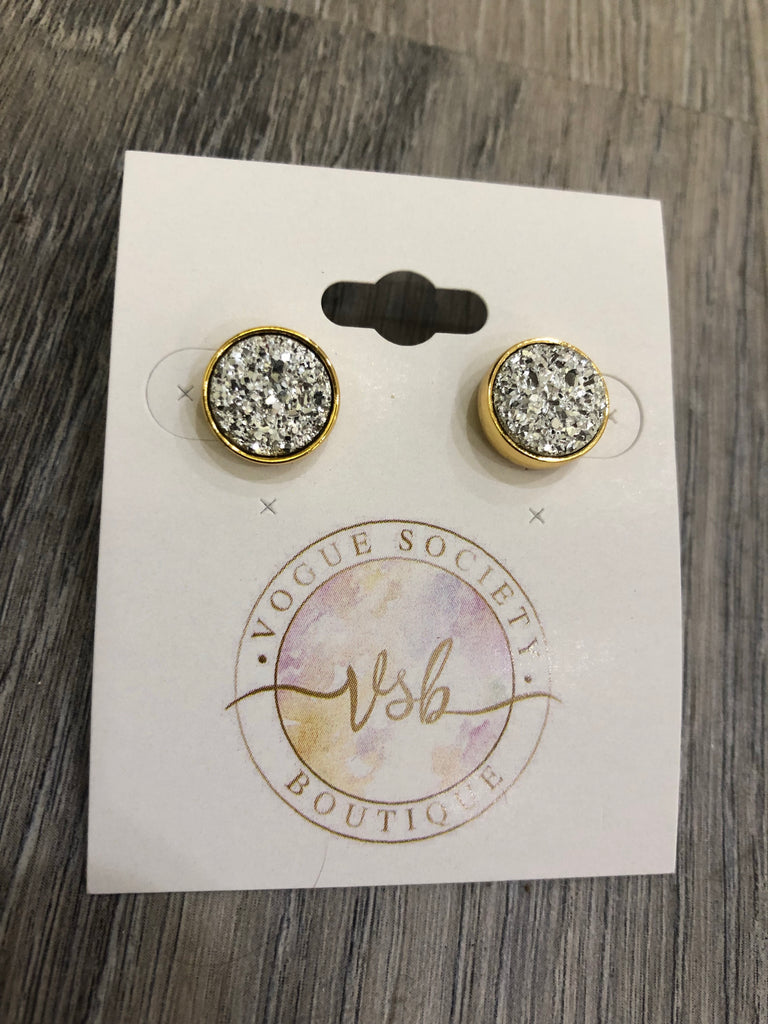 Gold & Stunning Stone Earrings- Silver