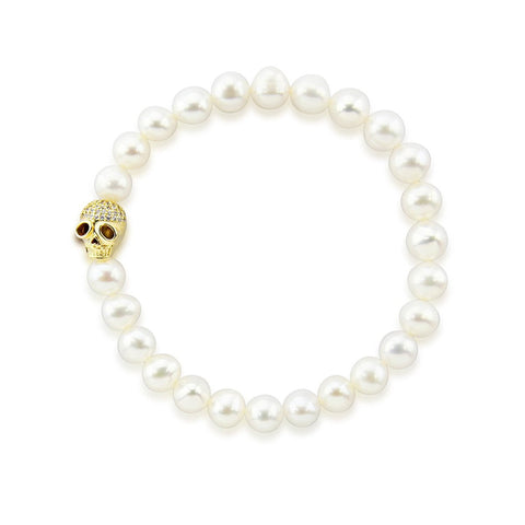 "7.0-8.0mm High Luster White Freshwater Cultured Pearl Bracelet 7.5"" with Skull bead 03"