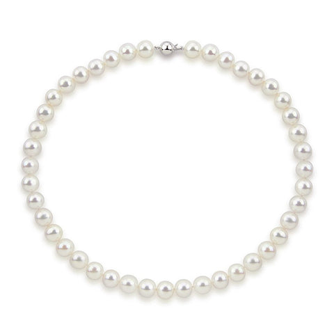 "14k White Gold 10.5-11.5 mm Freshwater Cultured Pearl High Luster Necklace 18"", AAA Quality."