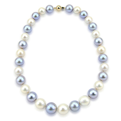 14K White Gold 11-14mm High Quality Grey and White Freshwater Cultured Pearl Necklace 20 Inches