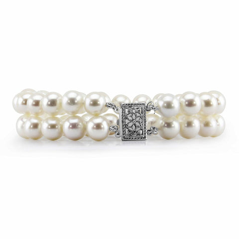 "14K White Gold 8.0-9.0mm 2 Row White Freshwater Cultured Pearl Bracelet 7.5"" Length - AAA Quality"