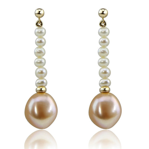 14K Yellow Gold 4-5mm white,13-14 mm Pink Baroque Freshwater Cultured Pearl dangle Earring