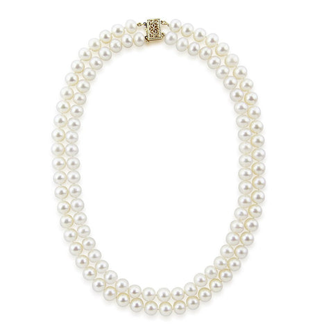 14k Gold Double Strand 6.5-7.0mm Saltwater Akoya Cultured Pearl Necklace AAA Quality 17 Inches