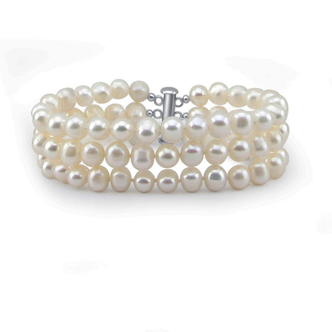 3-Row White A Grade 7.5-8.0mm Freshwater Cultured Pearl Bracelet, 7.0""