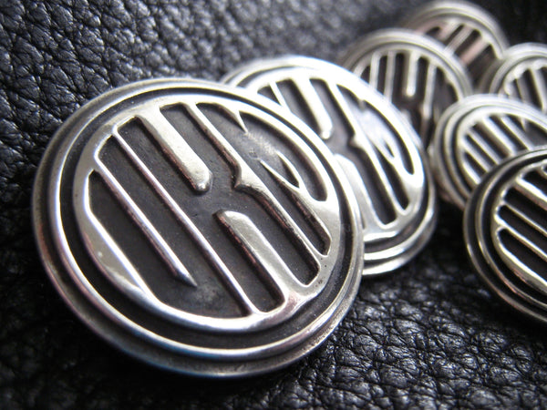 Solid Silver Monogrammed Blazer Buttons with Circle Letters Monogram Art Deco Style