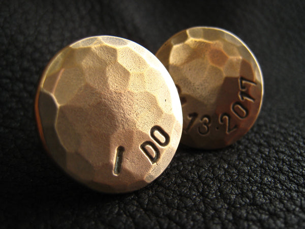 "Golden Bronze Cuff Links Cufflinks with ""I Do"" and Wedding Date, and Hand Hammered Finish"