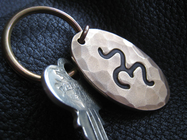 Ranch Brand Cattle Brand Keychain Key Fob in Hand Hammered Solid Bronze