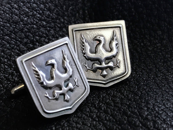 EXAMPLE - Sterling Silver  Cuff  Links Cufflinks with Custom Designed Family Crest, Logo, Coat of Arms