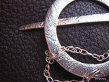 Shawl Pin - Together Forever -  in  Fine and Sterling Silver with Embossed Fern Design