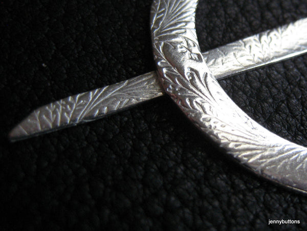 Shawl Pin in Fine Silver  with Embossed Fern Design