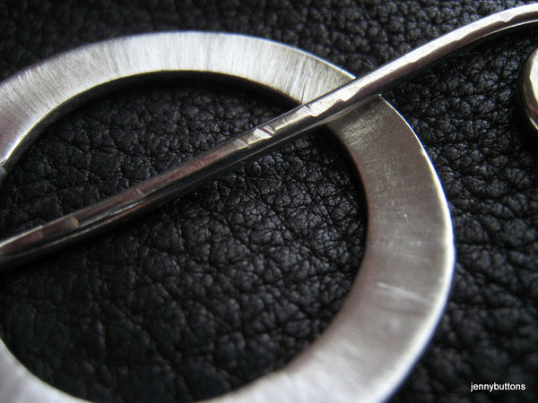 Satin Circle Fine and Sterling Silver Shawl Pin