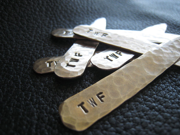 Monogrammed  Collar Stays in Hand Hammered Solid Bronze