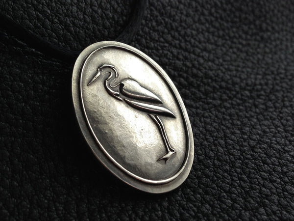 Sterling Silver Pendant Medallion with Great Blue Heron Bird and Inscription - Custom -EXAMPLE