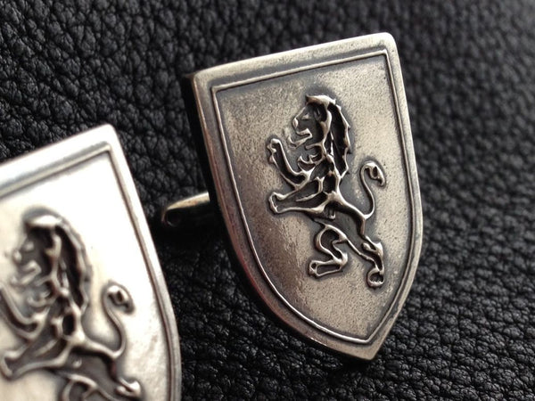 Custom Cufflinks in Sterling Silver with Lion Rampant Heraldry Crest - EXAMPLE