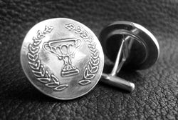 Sterling Silver Cufflinks with Wedding Logo or Business Logo - Custom - EXAMPLE