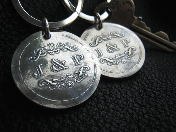 Keychains Key Fob Key Ring with Wedding Logo in Sterling Silver Custom - EXAMPLE