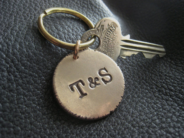"Solid Bronze Monogrammed Keychain Fob with Solid Brass key ring Approx 1"" 1/8"" (2.4 cm.) Diameter"