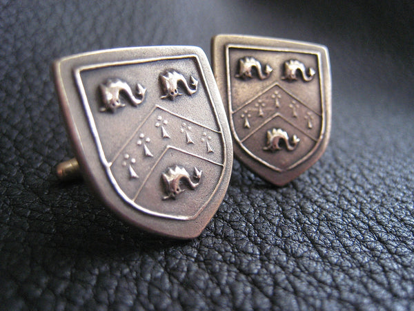 Cuff  Links Cufflinks in Solid Golden Bronze with  Crest  Coat of Arms - Custom - EXAMPLE