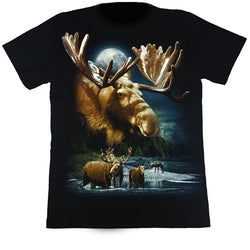 Moose In The Moonlight Black T Shirt