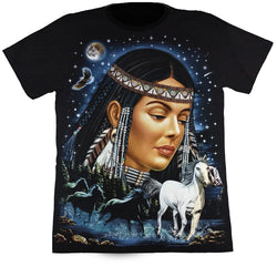 Native Female With Horses Black T Shirt
