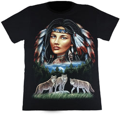 Native Lady With Wolves Black T Shirt