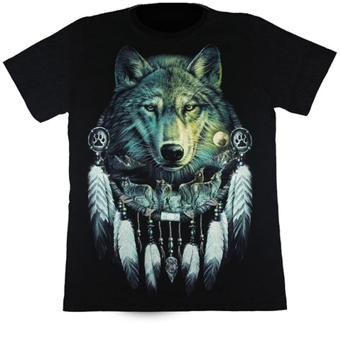 Large Wolf In Dreamcatcher Black T Shirt