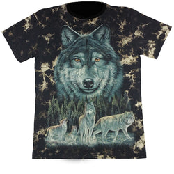 Wolves In The Wild Black Tie-Dye T Shirt