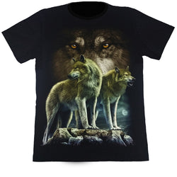Wolves In The Moonlight Black T Shirt