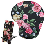 LIZI MANDU Memory Foam Non Slip Mouse Pad With Wrist Support And Cell Phone Stand - Durable,Comfortable,Lightweight For Easy Typing & Pain Relief(Black Rose)