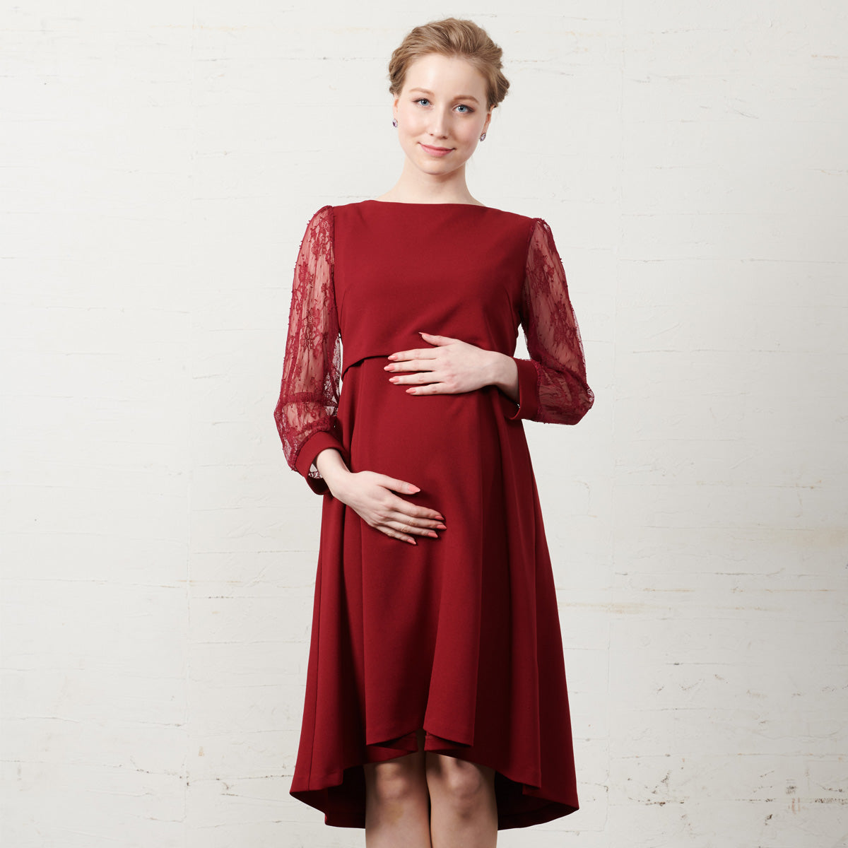 Maternity and Nursing Lace Sleeve Cocktail Dress