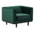 Issac green velvet single chair with wood base