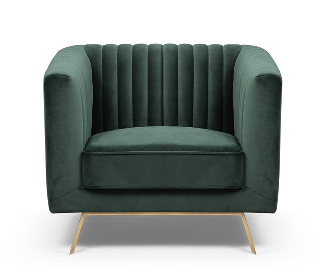 Luca green velvet single chair with stainless steel legs