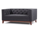 Oscar 2 seater fabric sofa with wood base