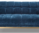 Ella blue velvet 2 seater sofa with stainless steel base
